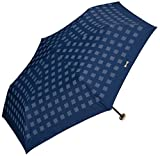 w.p.c晴雨兼用折りたたみ傘★遮光チェックリボン (ネイビー)