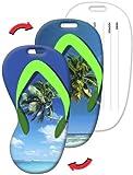 Luggage Tag, 2.3 x 4.35 inches Flip-Flop Shape, Palm Tree Beach Lenticular Flip Effect, Item# LTFF-368