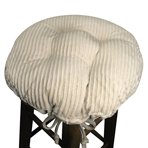 "13"" Round Bar Stool Cover With Adjustable Drawstring Yoke - Wide Wale Natural Corduroy - Standard Size - Latex Foam Fill Barstool Cushion - Made In Usa front-217080"