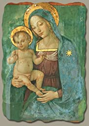 Madonna with Child by Pinturicchio, Italian-Made Fresco Reproduction on Plaster, 6 inches x 7 ¾ inches x 3/8 inches