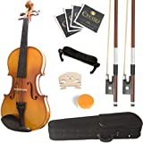 Mendini 4/4 MV400 Ebony Fitted Solid Wood Violin with Hard Case, Shoulder Rest, Bow, Rosin, Extra Bridge and Strings - Full Size