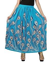 FEMEZONE Skirt Women's Cotton Regular Fit Rayon and Crepe Skirt (SKY BLUE, XXL)