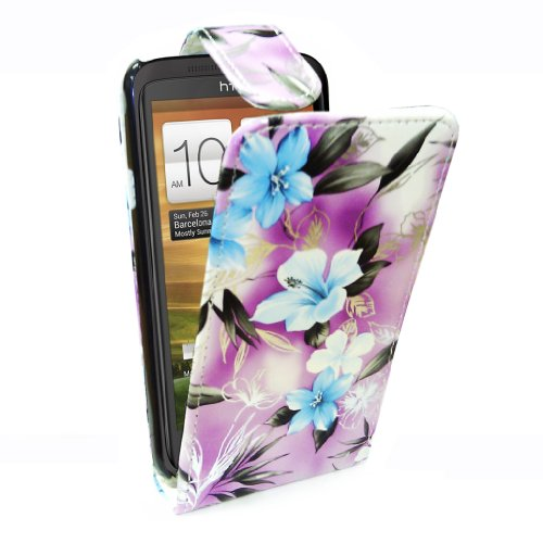 StyleBitz / HTC ein x / stylish purple & blue floral Stoff Flip fall / neu