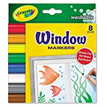 Crayola 588165 Washable Window FX Markers, Conical Tip, Assorted Colors, 8/pack (8 Each)
