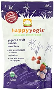 Happy Yogis Organic Yogurt Snacks for Babies and Toddlers, Mixed Berry, 1-Ounce Pouches (Pack of  8)