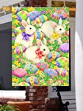 Easter Eggs & Bunnies - Standard Size Decorative House Flag 28 Inch X 40 Inch