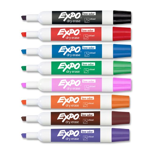 Expo Low Odor Chisel Tip Dry Erase Markers, 8 Colored Markers (80078)