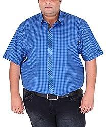 Xmex Men's Cotton Shirt (KR-HSECOBLACK, Blue, XXXXXX-Large)
