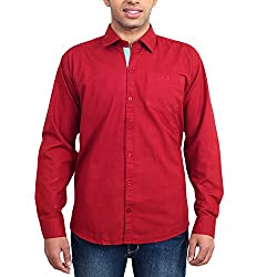 Solzo Slim Fit Red Solid Cotton Shirt for Men(Size: 42)