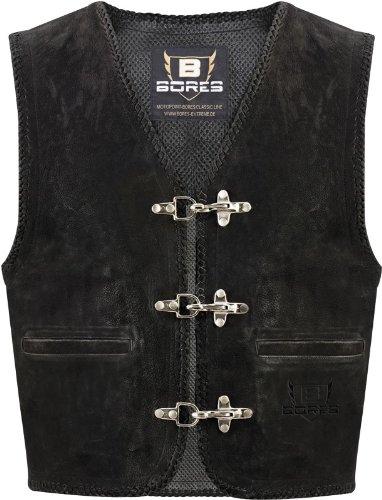 BORES Lederweste Sunride 2 - Rindleder im zeitlosen Style - PRIME VERSAND, Farbe:Schwarz;Größe:S