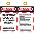 """NMC LOTAG27 """"DANGER - EUIPMENT LOCK-OUT A LIFE IS ON THE LINE!"""" Lockout Tag, Unrippable Vinyl, 3"""" Length, 6"""" Height, Black/Red on White (Pack of 10)"""