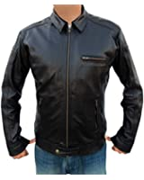 Outfitmakers Mens Zipper Pockets Casual Leather Jacket Black Medium