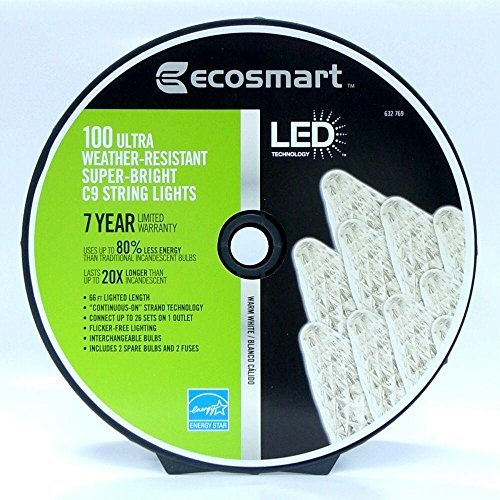Ecosmart Warm White 100 Led Commercia-Grade Super Bright Faceted C9 String Lights 66Ft.