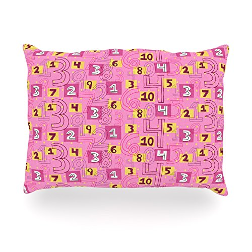 "Kess Inhouse Jane Smith ""Vintage Playground Ii"" Pink Yellow Oblong Rectangle Outdoor Throw Pillow, 14 By 20-Inch front-998805"