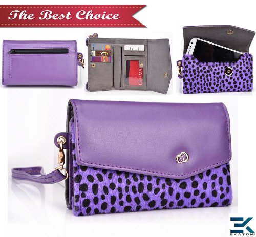 Universal Women'S Wallet Wrist-Let With Phone Case Compatible With Samsung Galaxy S5 Cover - Purple Dalmatian Faux Fur. Bonus Screen Cleaner