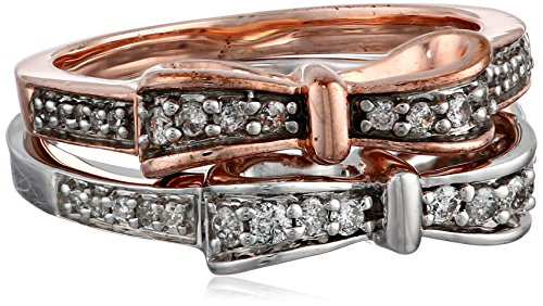 18K Rose Gold Plated And Sterling Silver Diamond Stackable Bow Ring (1/3 Cttw, I-J Color, I2-I3 Clarity), Set Of 2, Size 7