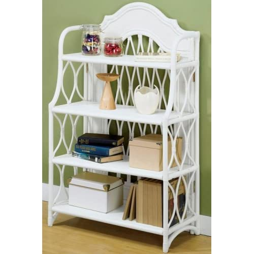 Rattan Wicker Bookcase Four-shelf Antique White