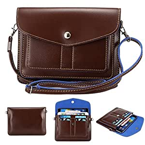 Topforcity(TM) Universal Cube Pattern PU Leather Cross-Body Pouch/Purse[Shoulder Strap ][Card Slots]for iPhone 6/6S,6Plus/6S Plus,Note 4,Galaxy S7 and other Phones Under 6.3 inches (Model-A02 Brown)