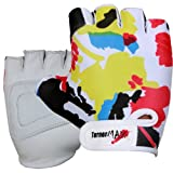 TurnerMAX Lycra Leather Pro Weight Lifting Body Building Taining Gloves Cycling Fitness Exercise Grip White