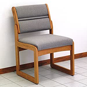 Sled Base Armless Wood Office Chair In Solid