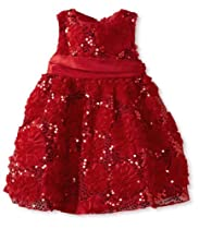 Rare Editions Baby-Girls Infant Red Soutache Flower Sequin Dress, 24 Months