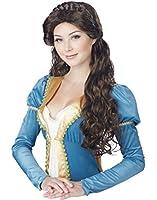 Adult Bruette Long Medieval Beauty Costume Wig