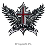 GODSPEED WINGS CROSS WINGED CHRISTIAN RIDER MOTORCYCLE BIKER LEATHER JACKET VEST MEDIUM SIZE EMBROIDERED PATCH