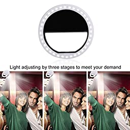 Selfie Light Ring,36 LED Selfie Flash Fill-in Light Enhancing Dimmable Cellphone Camera Spotlight Take Selfies in Dark for Smartphones and Tablets (Black)