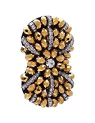 Chola Designer Bow Shaped Fabric Brooch With Antique Gold N Silver ( Silver )