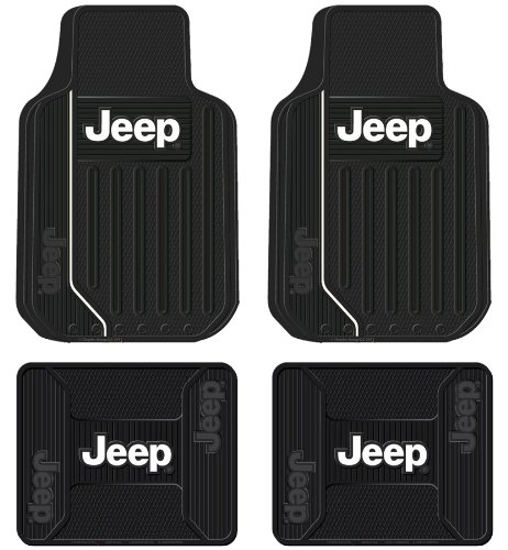 Jeep Logo Elite Series Front & Rear Car Truck SUV Seat Rubber Floor Mats (Jeep Floor Mats For Cars compare prices)