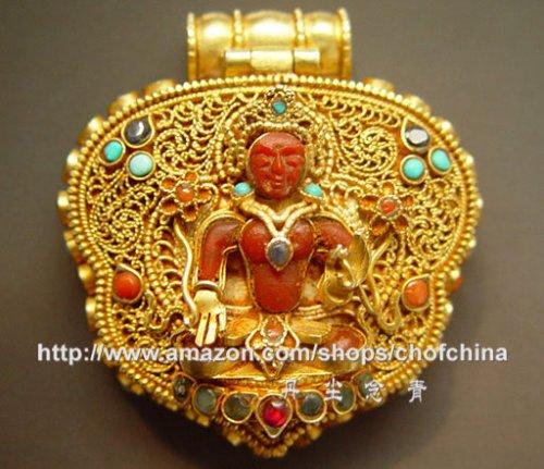 Tibetan Plated Bodhisattva Gau Locket