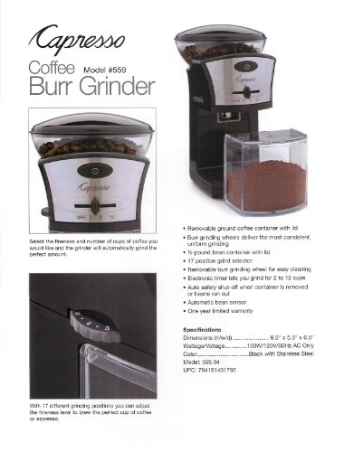 Capresso Coffee Burr Grinder , New, Free Shipping eBay