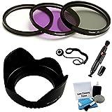 72mm PREMIUM Filter Kit (UV, CPL, FLD) & Digital Lens Hood Bundle For For Digital Cameras. Bundle Includes: Lens...