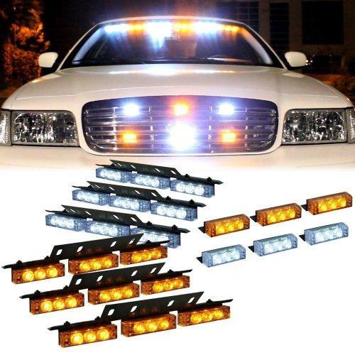 Nilight® 72 X Ultra Bright Led Emergency Warning Use Flashing Strobe Lights Bar For Windshield Dash Grille-White Amber