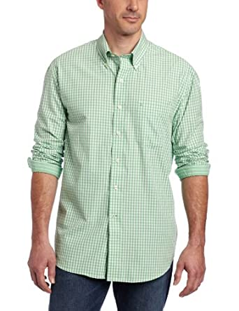 IZOD Men's Long Sleeve Gingham Button Down, Peppermint, Small