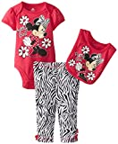 Disney Baby Baby-Girls Newborn Minnie Mouse 3 Piece Printed Bodysuit and Pant