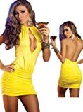 Open Back Yellow Club Dress - Sexy Peek A Boo Style
