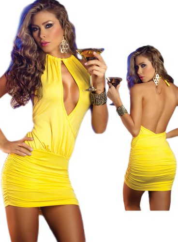 Sale Open Back Yellow Club Dress - Sexy Peek A Boo Style