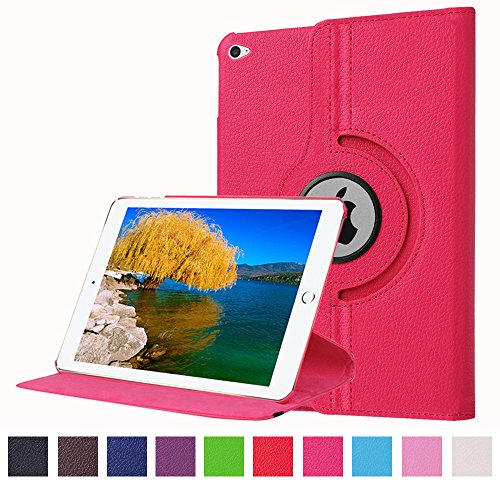 "iPad Pro Case,JCmax Synthetic Leather 360 Degree Rotating Case Multi-angle Vertical and Horizontal Stand with Smart Auto Wake/Sleep Function For 12.9"" Apple iPad Pro (iPad 6) 2015 Model-Dark Pink"