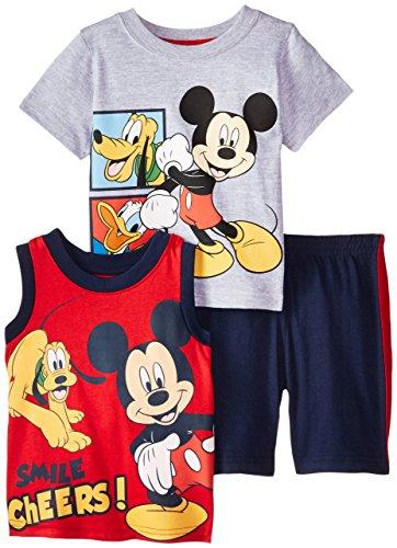 Disney Baby-Boys Infant 3 Piece Mickey Short Set, Gray, 18 Months