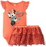 Disney Baby Baby-Girls Newborn Hot Coral Minnie Mouse Tutu Skirt Set