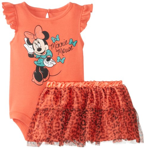 Disney Baby Baby-Girls Newborn Hot Coral Minnie Mouse Tutu Skirt Set With Glitter Skirt, Hot Coral, 3-6 Months front-386967