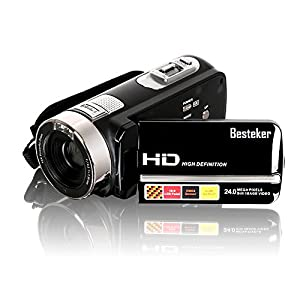 Video Camcorder, Besteker Portable HD 1080p IR Night Vision Max. 24.0 MP Enhanced Digital Camera Camcorders DV 3.0 TFT LCD Rotation Touch Screen Video Recorder
