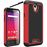 """Alcatel OneTouch Elevate / Pixi 3 4.5 Case Cover Accessories - Dual Layer Defender Protective Case Cover For Alcatel OneTouch Elevate (5017E) / Pixi 3 4.5"""" (Boost Mobile, Virgin Mobile) - Red"""