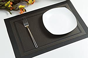 Placemats ,Grid Design PVC Insulation Heat Stain Resistant anti-skid eat mats, Use Both Side in Dining Room for Kitchen table (Black)