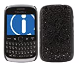 ITALKonline FunkGem BLACK DOTS Diamonte Crystals Super Hydro Gel Protective Armour/Case/Skin/Cover/Shell for BlackBerry 9320 Curve