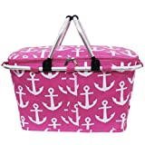 Pink & White Anchors Print Insulated Market Picnic Basket