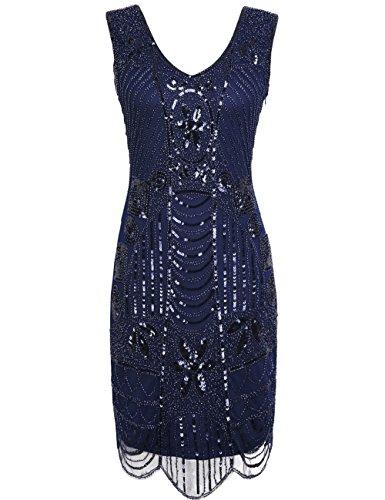 PrettyGuide Women's 1920s Gatsby Sequin Art Deco Scalloped Hem Cocktail Flapper Dress XXL Navy