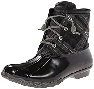 Sperry Top-Sider Women's Saltwater Boot, Black/Grey Plaid, 5 M US
