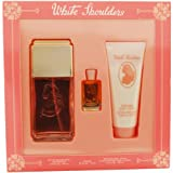 White Shoulders For Women Set, Eau De Cologne Spray 4.5 oz, Body Lotion 3.3 oz & Parfum .25 oz Mini ~ Evyan